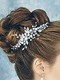 Kercisbeauty - Peigne en argent avec perle de cristal bleu d'eau douce - Conception florale - Accessoire pour cheveux longs bouclés en chignon - Coiffure de mariage ou bal