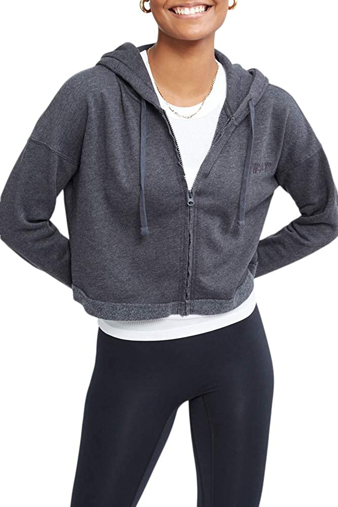 Bandier x WSLY Ecosoft Cropped Zip Up Hoodie, Charcoal Heather, 2XL (BW202020)