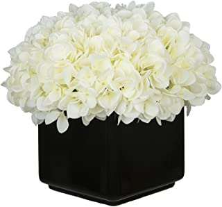 House of Silk Flowers Artificial Hydrangea in Large Black Cube Ceramic (White)