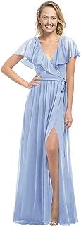Zhongde Women's V Neck Short Sleeves Slit Ruched Chiffon Bridesmaid Dress Long Evening Dresses