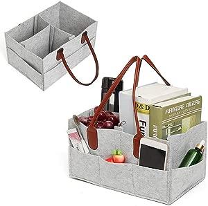 Car Felt Handbag Bag Organiser  OneMoreT Baby Diaper Caddy Nursery Storage Bag Bin Car Organizer Diapers Casual Handbag