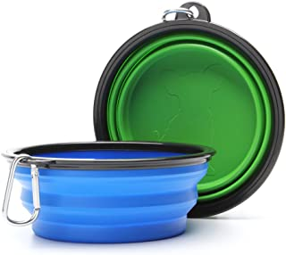 Sabuy Large Collapsible Dog Cat Bowl Travel 2 Pack, Pet Pop-up Food Water Feeder Foldable Bowls with Carabiner Clip (Large...