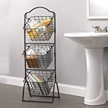 "$34 » 3-Tier Wire Market Basket Storage Stand for Fruit, Vegetables, Toiletries, Household Items, Stylish Tiered Serving Metal Stand Baskets for Kitchen, Freestanding Bathroom Organization (44"" Black)"