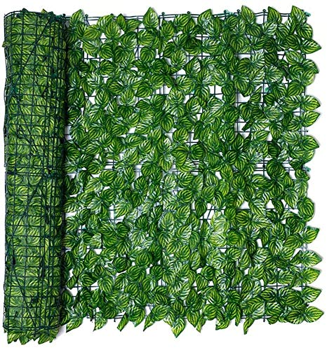 adshi Green Screens Artificial screening Leaf Hedge Panels,Artificial Screening Fencing Realistic,Expanding Willow Trellis with Leaves,Outdoor Garden Privacy Screen (0.5 * 3m, Hoja de sandía)