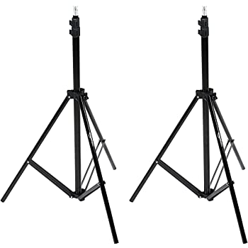 Amazon Basics Aluminum Light Photography Tripod Stand with Case - Pack of 2, 2.8 - 6.7 Feet, Black