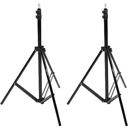 Amazon Basics - Soporte para iluminación, de aluminio, 2,13 m, ligero, con funda - Pack de 2