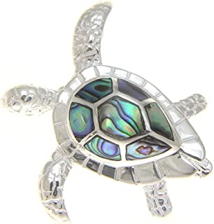 Arthur's Jewelry 925 Sterling Silver Hawaiian Honu sea Turtle Abalone paua Shell Slider Pendant