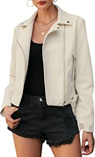 MsLure Women's Faux Leather Moto Biker Jacket Long Sleeve Zip Up Jacket Coat