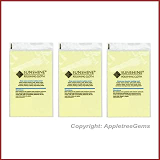 3 Sunshine Polishing Cloths for Sterling Silver, Gold, Brass and Copper Jewelry Polishing Cloth