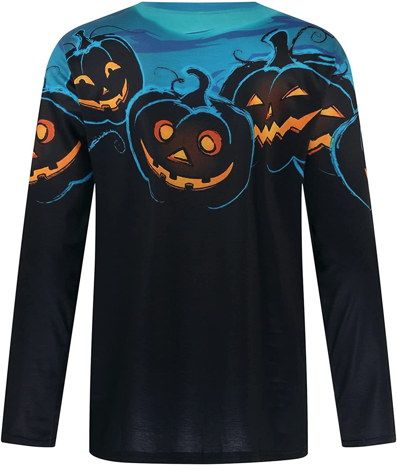 Mens Oversized Fall Tops Halloween Casual Long Sleeve Tie Dye T-Shirt Pullover Pumpkin Skeleton Graphic Print Tees Ghost