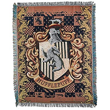 Warner Brothers JK Rowling Harry Potter,Hufflepuff Crest Woven Tapestry Throw Blanket, 48  x 60