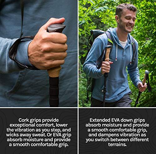 Cascade Mountain Tech Trekking Poles - Aluminum Hiking Walking Sticks with Adjustable Locks Expandable to 54