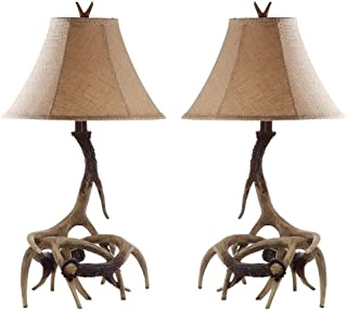 Safavieh Lighting Collection Sundance Antler Table Lamp, Set of 2, Brown