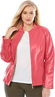 592d9d9eb38 Jessica London Women s Plus Size Zip Front Leather Jacket