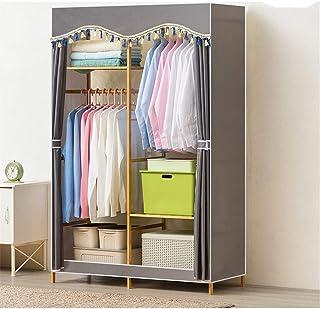 Garde-robe simple Solution de stockage de vêtements de placard penderie en bois avec rail de suspension + étagères de rang...