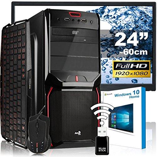 Agando Silent-Gaming-Pc-Komplettpaket | Amd Fx-8320 8X 3,5 Ghz | Amd Radeon R7 370 2Gb Oc | 4Gb Ram | 120Gb Ssd | 1000Gb Hdd | Dvd-Rw | Usb3.0 | 60 Cm (24