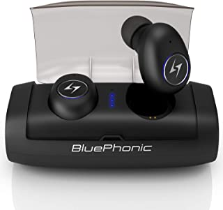 Bluephonic True Wireless Earbuds, 100Hr Play w/ 2600mAh Auto Pairing SweatProof Sport Headphones Headset, 3D Sound Bluetooth 5.0 Totally Wireless in Ear Earphones, Built in Mic, Dual Speaker for Calls