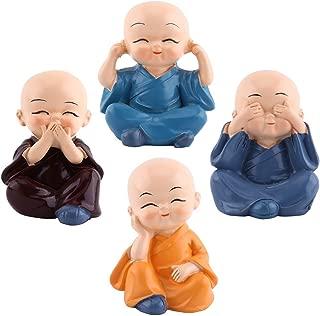 4pcs Cute Little Monks Monks Figurine Statue, Cute Little Monks Hear No Evil See No Evil Speak No Evil Do No EvilStatue Wealth Lucky Figurine Home Baby Buddha Decor Gift