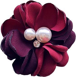 Nowbetter Damen-Brosche Kamelie Blume Braut Kleid Boutonniere Perlen Hals Krawatte Brosche Anstecknadel Hochzeit Party Decor, rot, 8.5cm-9cm