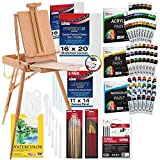 US ART SUPPLY 121-Piece Custom Artist Painting Kit with Coronado Sonoma Easel, 24-Tubes Acrylic Colors, 24-Tubes Oil Painting Colors, 24-tubes Watercolor Painting Colors, 2-each 16'x20' Artist Quality Stretched Canvases, 6-each 11'x14' Canvas Panels, 11'x14' Watercolor Paper Pad, 10-Natural Hair Bristle Paint Brushes, 7-Nylon Hair Paint Brushes, 15-Multipurpose Paint Brushes, Trowel, 5 Pallete Knives, 17-Well Paint Mixing Pallete