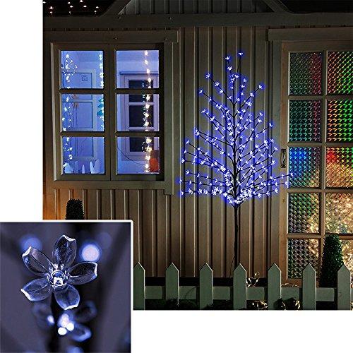 VINGO LED Kirschblütenbaum 220cm | Blau | 200 LED Weihnachtsdekoration Lichterbaum IP44 für Innen und Außen Metallfuß Stabil