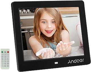 Andoer 8pulgadas HD 1024 * 768 Marco de Fotos Digital LCD Pantalla Despertador Reloj Reproductor de MP3 MP4 Vídeos con Control Remoto