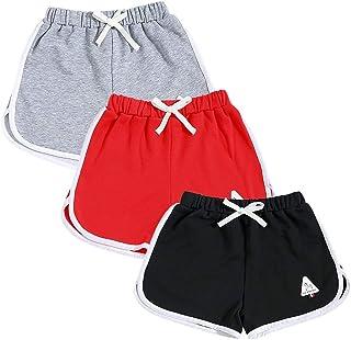 Rolanko Pantaloncini Sportivi Cotone da Bambina, Pantaloni Corti da Corsa Estivo, Abbigliamento Palestra per Ragazze per C...