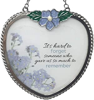 BANBERRY DESIGNS Memorial Suncatcher - Periwinkle Blue Flower Charm and Forget Me Not Floral Design Printed on Glass - It'...