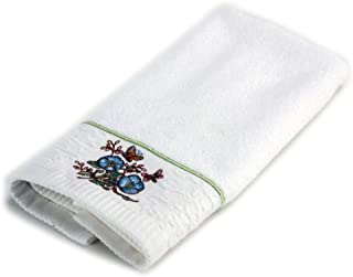 Lenox Embroidered Fingertip Towel, Blue Flower, Butterfly Meadow