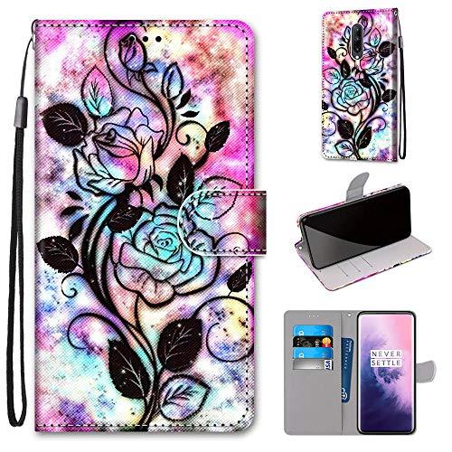 Miagon Flip PU Leder Schutzhülle für OnePlus 7,Bunt Muster Hülle Brieftasche Case Cover Ständer mit Kartenfächer Trageschlaufe,Blume Blatt