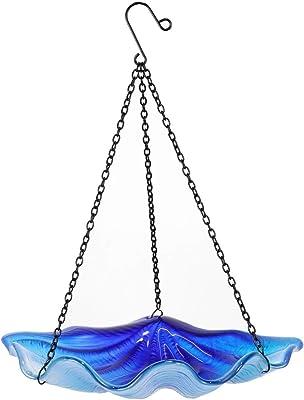 Liffy Hanging Bird Bath Outdoor Shell Glass Bowl Feeder Blue for Garden, Yard and Patio