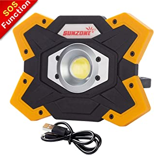 SUNZONE LED Work Light 20 Watt 1200 Lumens FloodLight Outdoor Camping Fishing Spotlights Searchlight Built-in Rechargeable Lithium Batteries Lamp With USB Ports (6006 Yellow)