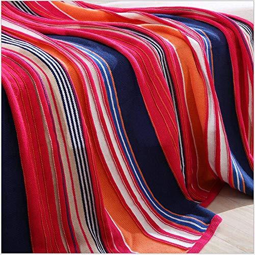 FUFU Mantas y mantitas 100% algodón Tiro de punto con una manta decorativa ligera acogedora cálida suave con flecos con multicolor para sofá, cama, sofá, viajes - todas las temporadas adecuadas para m
