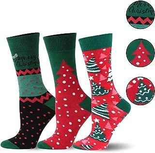 Holiday Funny Socks Unisex, SHETOP Cute Colorful Novelty Happy Crew Socks for Men & Women