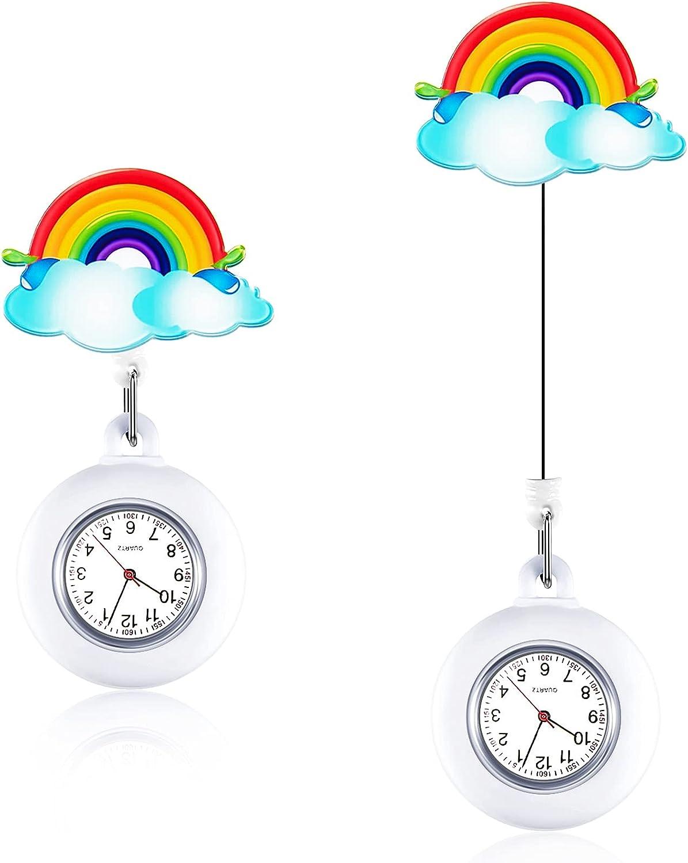 2 Piezas Relojes de Enfermera Linda Reloj de Bolsillo Arcoíris de Colgante para Enfermera Reloj Retráctil Portátil con Clip en Bolsillo de Reloj para Doctores Mujeres Estudiantes