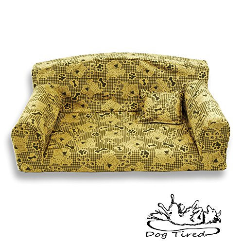 Dog Tired Biscuit – Pet Sofa. Trendy 3 sizes Dog bed. Modern cover material. Made in UK (Large 96 x 64 x 34 cm)