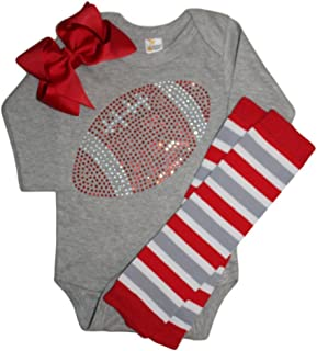 Baby Girl's Blue & Red Team Colored Rhinestone Red Football on a Blue Outfit