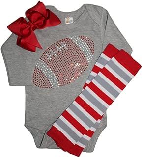 Baby Girl's red Rhinestone Football Team Rhinestone Outfit, Bodysuit, Leg Warmers & Bow