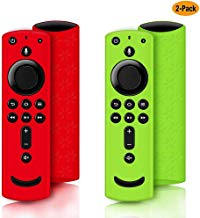 2 Pack Remote Cover for Fire TV Stick 4K, Silicone Remote case for Fire TV Cube/Fire TV(3rd Gen) Compatible with All-New 2nd Gen Alexa Voice Remote Control, Anti-Slip Shockproof (Green and Red)