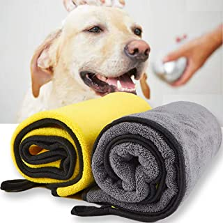 حوله سگ گربه Fenley برای حیوان خانگی فوق العاده جاذب ، Premium 2 PCS 39x21 در حوله حیوان خانگی برای همه سگ ها گربه ها خشک شدن سریع -حوله های میکروفیبر نرم و ضخیم نرم برای حمام سگ قابل شستشو در ماشین لباسشویی