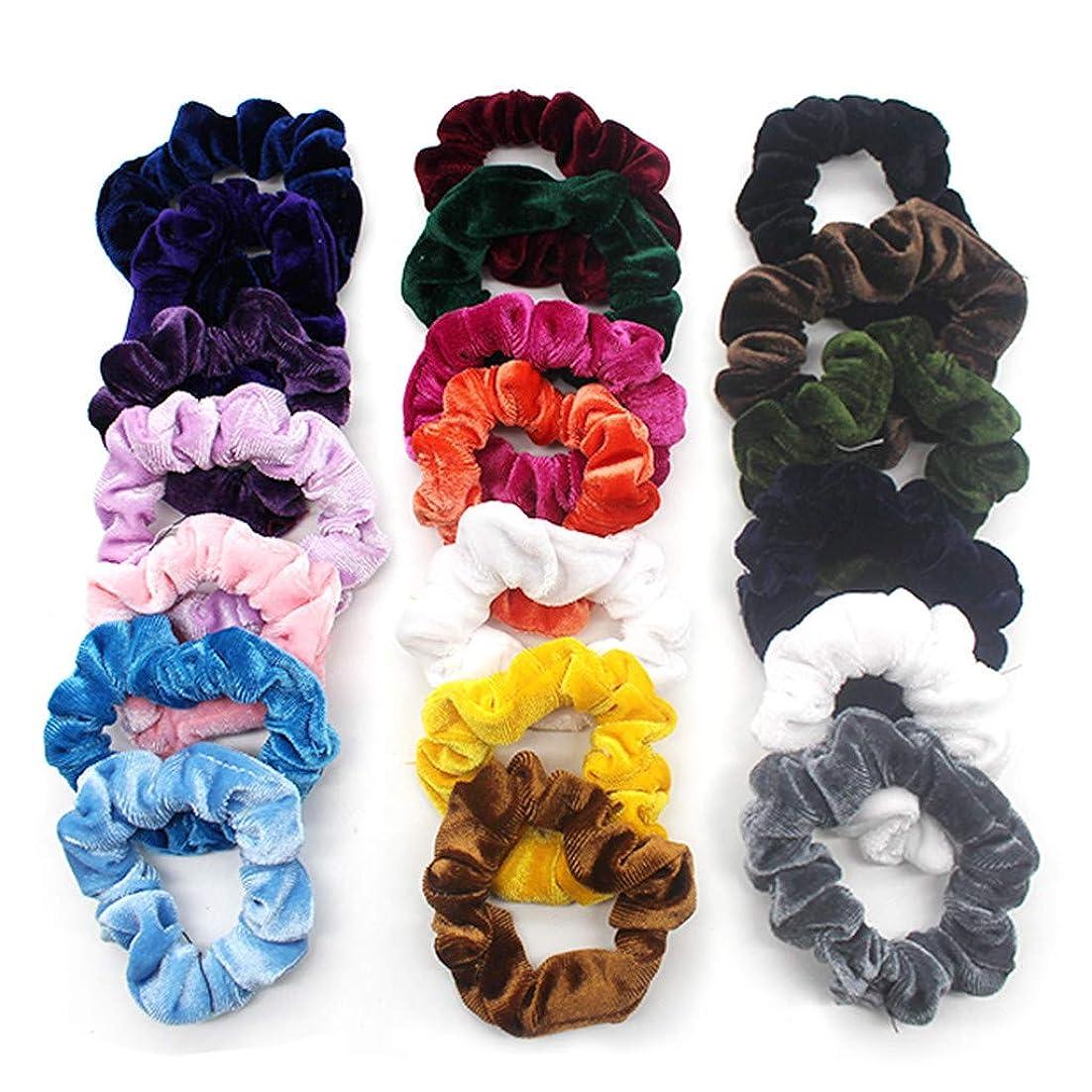強盗接ぎ木地理20個ベルベットヘアライン 弾性ヘアバンド ソフトヘアケア 明るい色 複数の色 収納袋付き (多色)