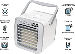 Kenley Portable Air Conditioner - Personal Mini AC Cooling Fan for Office Desk, Night Stand, Dorm Room, Bedroom, Camping - Small & Quiet USB Desktop 3-in-1 Cooler