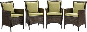 Modway EEI-4031-BRN-PER Conduit Outdoor Patio Wicker Rattan Dining Armchair Set of 4, Brown Peridot