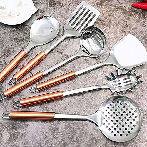 SILIC&NOSTIKCOOK - Juego de utensilios de cocina (6 unidades, acero inoxidable)