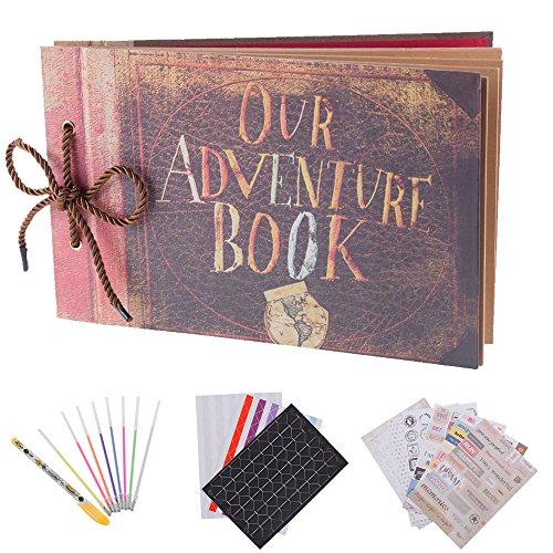 RECUTMS Album de Fotos,Scrapbook,Our Adventure Book,80 Páginas,Álbum de Fotos Hecho a Mano Diy Family Scrapbook Extensible,DIY Vintage Libro de Visitas de Boda,Cumpleaños,Familia