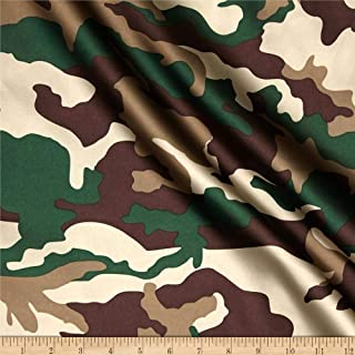 Ben Textiles Charmuese Satin Camouflage Green Fabric By The Yard