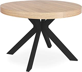 Menzzo Myriade Table Extensible, Métal, Bois/Noir, Diamètre 110cm rallonges : L110 x P160-210-260 x H75 cm