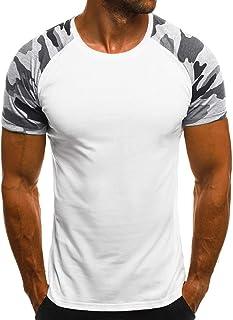 Camiseta de Manga Corta para Hombre Verano Camuflaje Estampado Tops Cuello Redondo Cosida Deportes Pullover tee Adolescente Casual Moda Slim Camisa Ropa de Correr Fitness