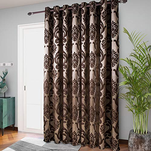 Sliding Door Curtains, NAPEARL Luxurious European Style Glass Door Curtains, Extra Wide Grommet Curtains for Room Divide, 1 Panel ( 100In Wide x 84In Tall, Brown )