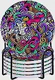 GUVICINIR Juego de 6 Posavasos de cerámica Absorbente con Base de Corcho,Apto para Tipos de Tazas,Música Temática Dibujados Mano Instrumentos Abstractos Micrófono Tambores Teclado Stradivarius